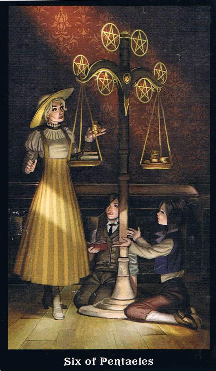 The Six of Pentacles - Steampunk Tarot