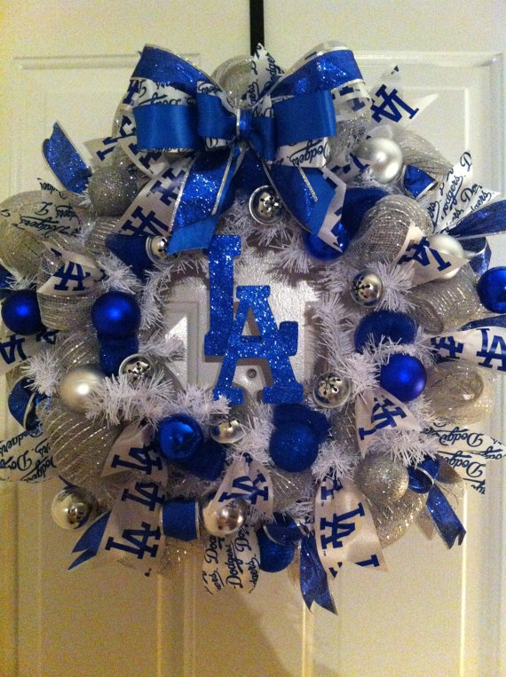 LA Dodgers Christmas Wreath holiday sports baseball by Vivamor, $85.00