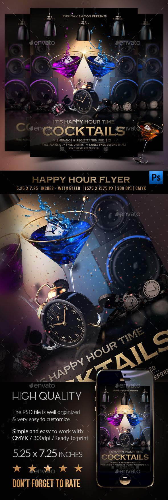 Happy Hour Cocktails Flyer