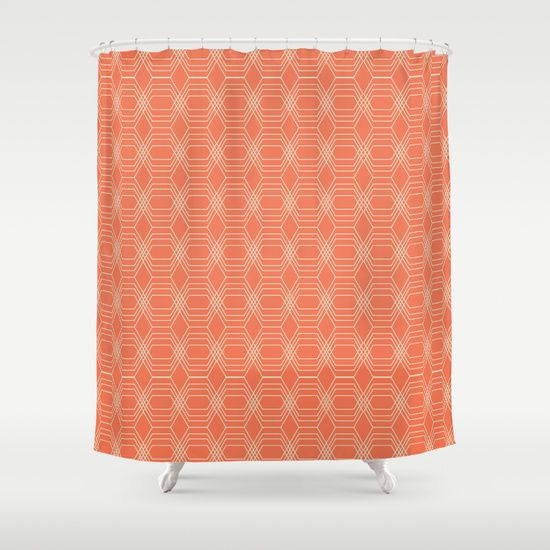 17 best images about tangerine shower curtain tangerine for Pink and orange bathroom ideas