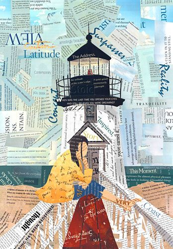 """Click here for mixed media word collage lighthouse art titled:Mirrored Serenity: 20"""" x 16""""  http://curtnerart.com/Merchant2/merchant.mvc?Screen=PROD&Product_Code=PRT-MIRR20&Category_Code= $140.00"""