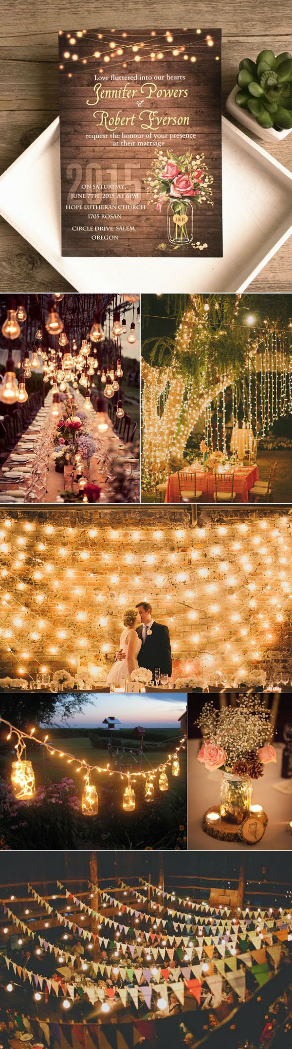rustic wedding ideas with string lights and mason jars