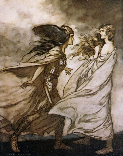 """""""The ring upon thy finger"""" by Arthur Rackham (the Valkyrie Waltraute entreats the ring from Brunhilde)"""