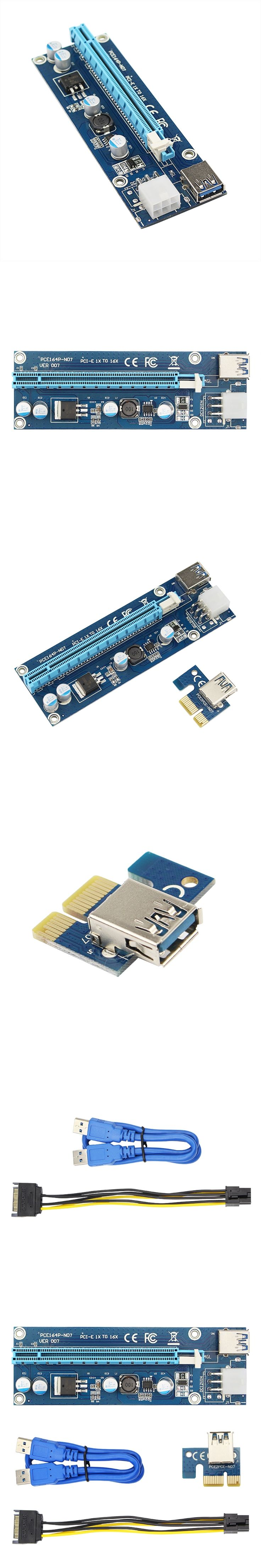 VER006C Blue 1x to 16x PCI Express Riser Card PCI-E Extender 60cm USB 3.0 Cable SATA to 6Pin IDE Power for BTC Miner