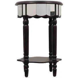 "A perfect addition to your living room or entryway, this wood end table showcases scalloped mirror skirting and a bottom display shelf.   Product: End tableConstruction Material: Wood and mirrored glassColor: Black and silver Features: Scalloped mirrored skirtingOpen bottom display shelfTurned legs Dimensions: 27"" H x 18"" Diameter"