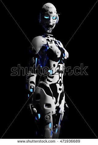 3D illustration. The fashion girl in style the cyberpunk. Futuristic fashion android