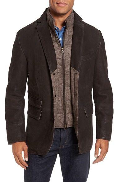 Main Image - Flynt Distressed Leather Hybrid Coat