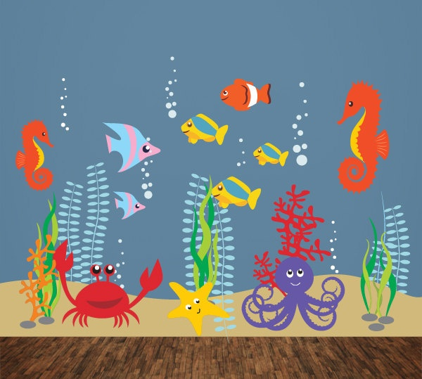 Children Wall Decal Wall sticker, Fish Decal, Underwater Decal - T14. $134.00, via Etsy.