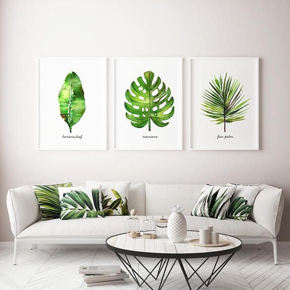 Banana leaf watercolor painting Palm frond art Fan palm leaf