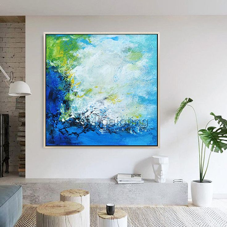 Modern abstract Blue acrylic painting on canvas Original Ocean Sea Waves Large Wall art Pictures for living room Seascape cuadros abstractos