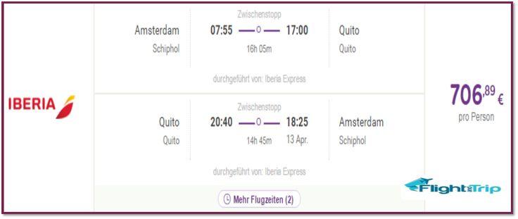IBERIA FLUG VON AMSTERDAM  NACH QUITO IM APRIL  2016 FÜR 707 EUROS