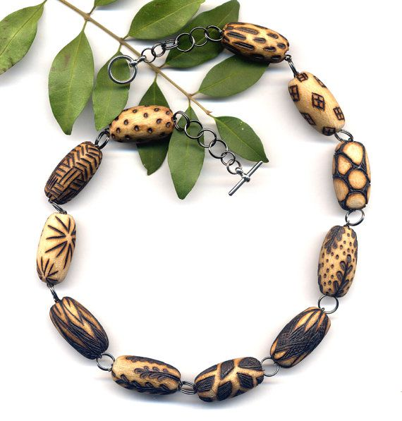 OOAK Wood Burned Beads Necklace Unique Handmade Wood by Annaart72