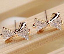 2015 ( минимальный Order1 ) модный с бантом серебряные серьги для женщин кристалл серьги мода женских украшений металл ну вечеринку классические серьги(China (Mainland))