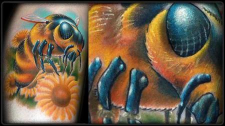 Tattoos - Nebraska - Realistic Bee and Flowers