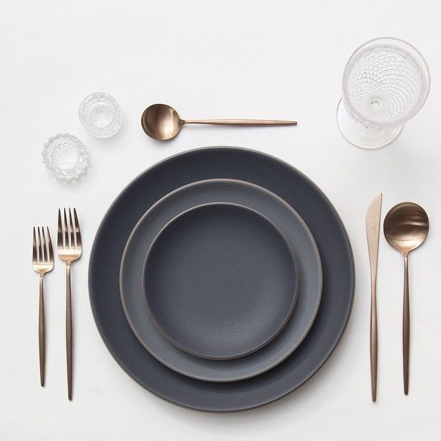 Heath Ceramics in Indigo/Slate + Rose Gold Flatware + Early American Pressed Glass Goblets + Antique Crystal Salt Cellars | Casa de Perrin Design Presentation