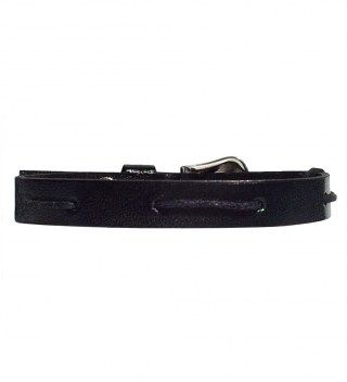 JT Black Leather Bracelet with Cotton Detail