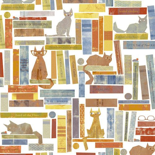 Smarty Cats Bookshelf, by Maria Carluccio for Windham Fabrics by NeedleandFoot on Etsy