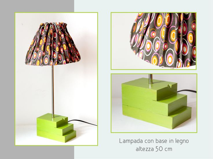 Table lamp made with recycle wood and fabric that I reused by a 70's dress