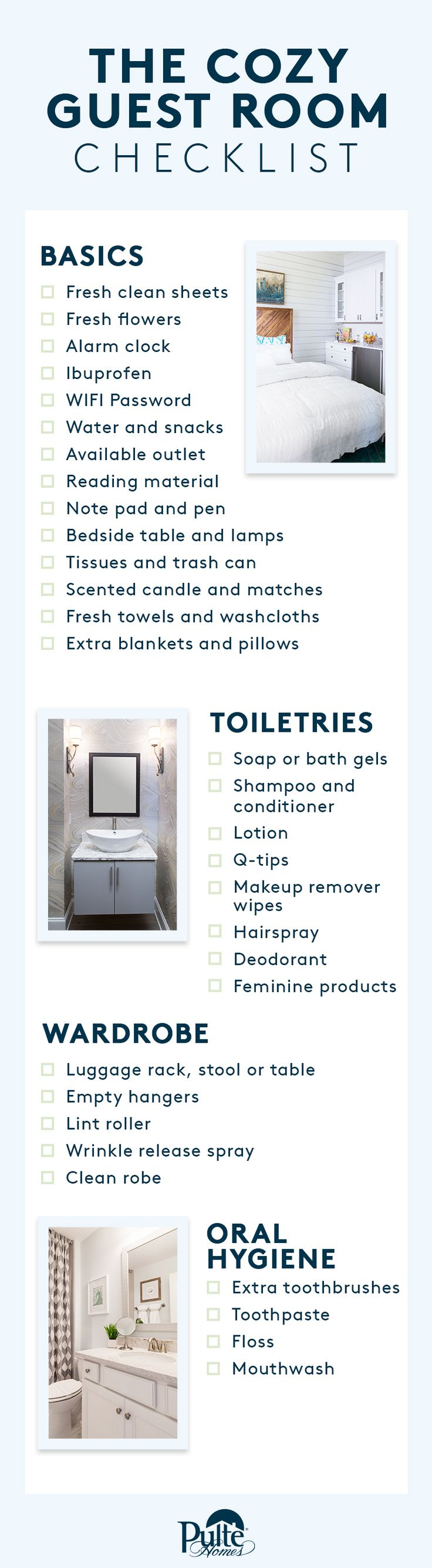 The holiday season is upon us, and with it comes hosting friends and family. Be prepared with this helpful checklist for your guest bedroom and bathroom that will have visitors feeling right at home. | Pulte Homes