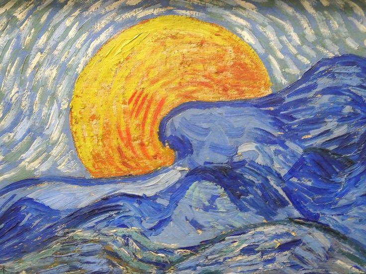 Hoge Veluwe - Museum Kröller-Müller. Vincent van Gogh (1853/1890) - 'Landschap met korenschelven en opkomende maan' - juli 1889 - detail - olieverf op doek. Foto: G.J. Koppenaal - 30/8/2017.