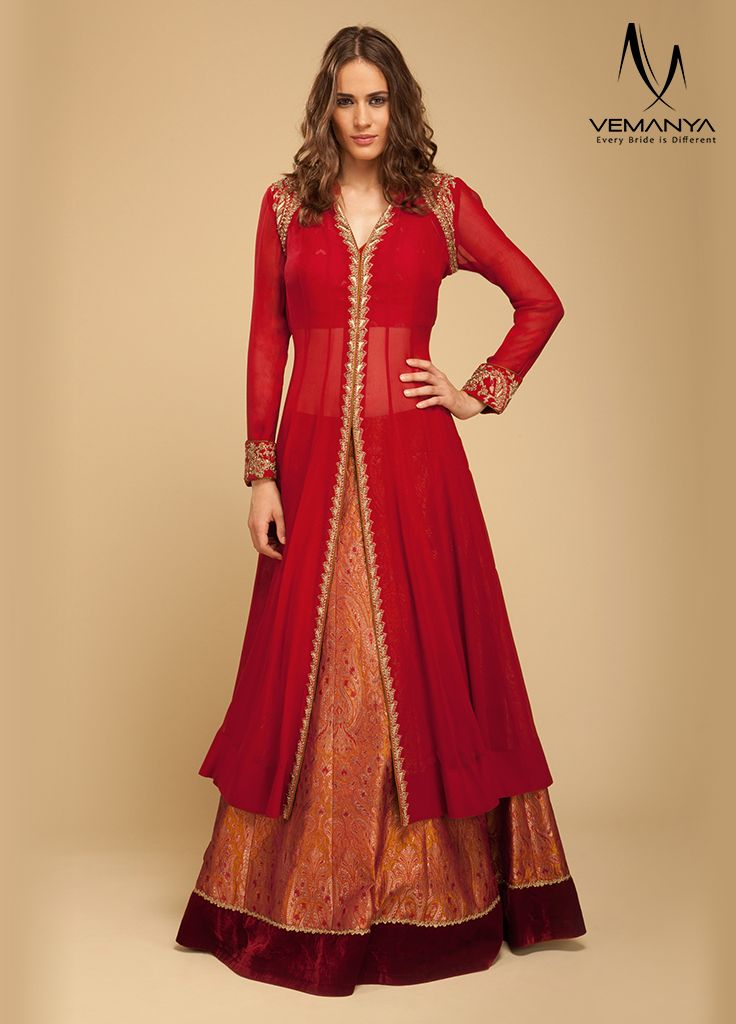 Zari lehenga with a chiffon long jacket, exclusively designed by House of Vemanya.