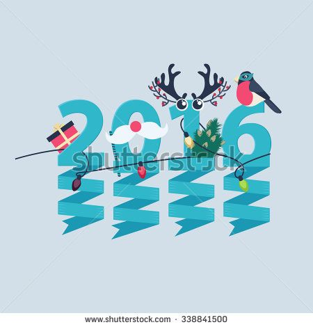 2016 New Year greeting card design with party streamers hanging from blue numerals decorated with Christmas lights, a gift, robin, tree and antlers - stock vector