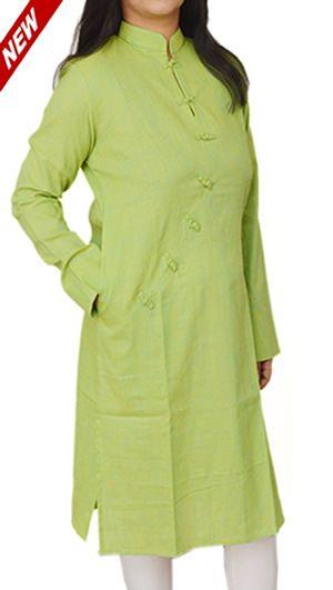 Women Corporate Kurtas, Women Corporate Wear, Womens Wear, Indian Concepts, Pear Green Robe Cut Loop-Knot Corporate Kurta