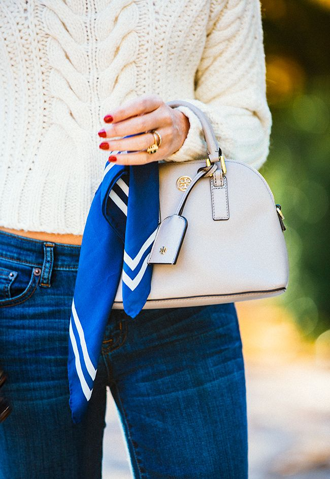 cozy cable knit + bag with scarf