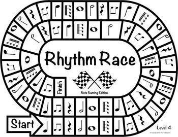 MUSIC CENTERS: RHYTHM RACE NOTE NAMING EDITION LEVEL 4 - RHYTHM GAME - TeachersPayTeachers.com