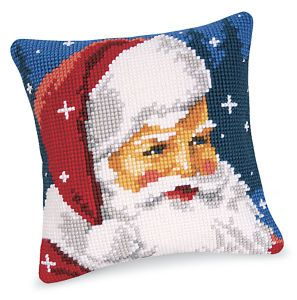 Santa Cheer Pillow Top - Cross Stitch, Needlepoint, Stitchery, and Embroidery Kits, Projects, and Needlecraft Tools | Stitchery