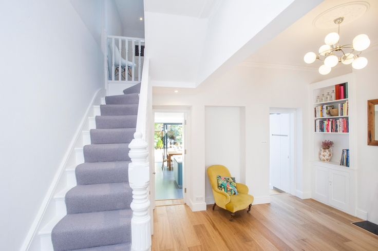 Side Return Extension on a Victorian Terraced House, Kitchen Extension in Highbury, N5, Greater London, Sliding Glass Patio Doors, All-Glass Roof, Velux Roof Light, Flat Roof, Kitchen Extension, Kitchen Extension Ideas, Rear Extension, Living Room Ideas, Open-Plan Living room