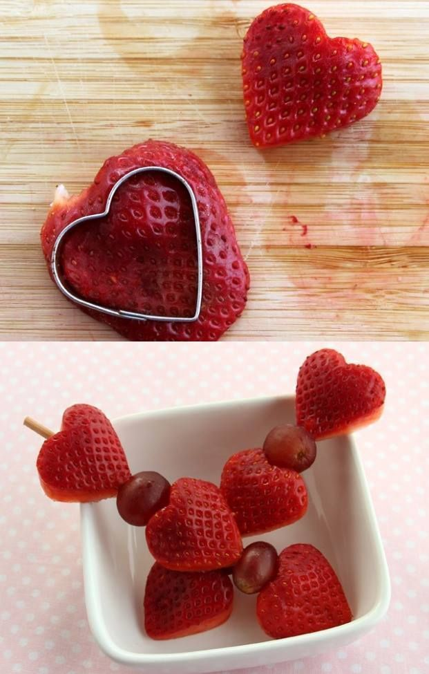 3 Healthy Strawberry Snacks for Valentine's Day  1) Strawberry Heart Fruit Kebabs 2) Quick Strawberry Applesauce 3) Strawberry-Cream Cheese Heart Sandwiches