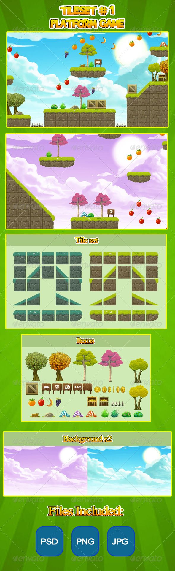 2D Tileset Platform Game #GraphicRiver This is a tileset for a 2D plataform game. You can easily create levels for your 2D game. The files are in transparent PNG, PSD and JPG format. The tile files are 128×128 and the full resolution is 1700×1000 Have fun! Created: 8 December 13 Graphics Files Included: Photoshop PSD #Transparent PNG #JPG Image High Resolution: No Layered: No Minimum Adobe CS Version: CS Pixel Dimensions: 1700x1000 Tags 2d #Spritesheet #Tile Set #android #game #game sprites…