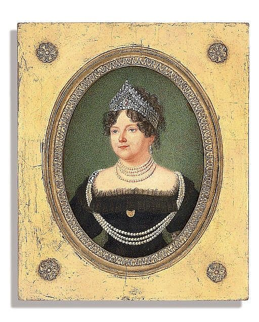 HENRI BENNER (FRENCH, 1776-after 1833)<br />The Dowager Empress Maria Feodorovna (1759-1828), in black dress with tulle trim, wearing a diamond-encrusted tiara, brooch at corsage, four-strand pearl necklace, further long three-strand pearl necklace with gem-set clasps, worn across the shoulders, gem-set earring, and curling hair<br />on card <br />oval, 5 3/8 in. (137 mm.) high, rectangular gilt-wood frame with rosettes at corners<br />