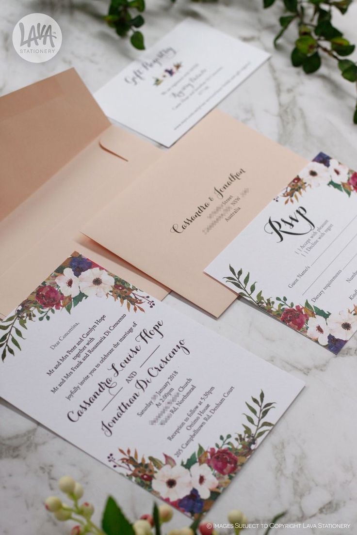Here is the lovely Beatrice invitation printed