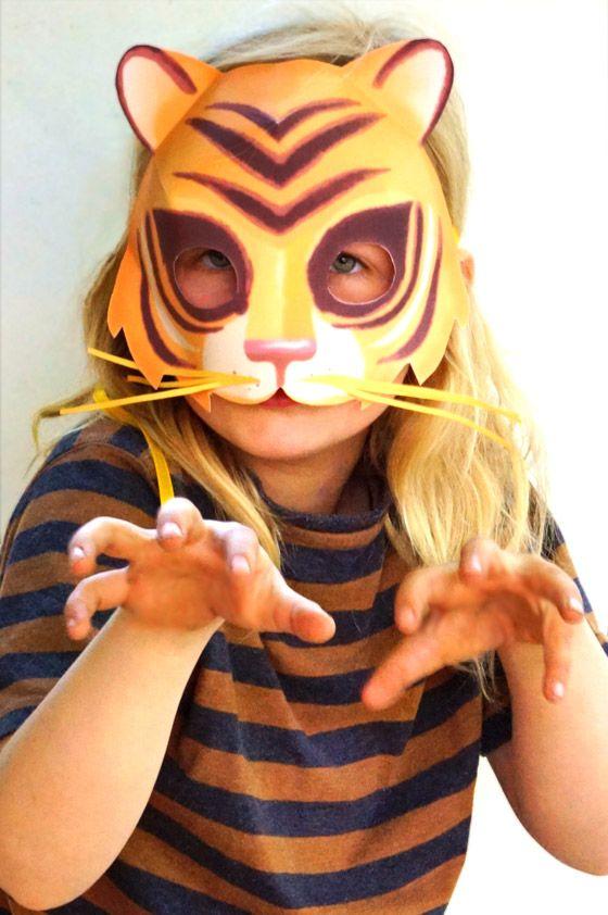 Mask templates to print: DIY mask making for kids. Printable tiger mask template and instructions. How to make animal masks: Tiger + 9 other animal masks!