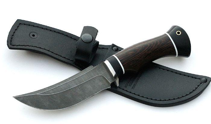 Нож Бобр сталь дамаск, рукоять венге-черный граб