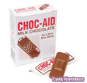 When life hands you a boo-boo, sweeten it up with a tasty milk chocolate bandage.  Get your milk chocolate band aids (and other... novelty candy...) from us: http://www.candywarehouse.com/products/chocolate-first-aid-bandages-10-piece-box/