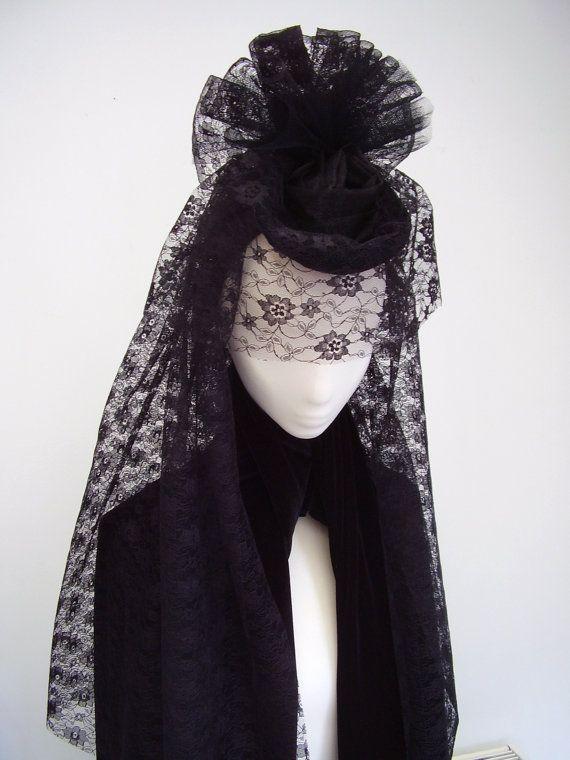 Copricapo gotico vittoriano vedova nera velata di Blackpin su Etsy