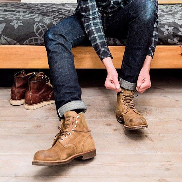 "redwingshoestoreamsterdam: ""Getting ready! A regram of @hansjellema. Hans is stepping into his pair of Red Wing Shoes 8113 Iron Ranger in Hawthorne Muleskinner. He is also a proud owner the 8138 Moc Toe, as you can see. What is your favorite pair of..."