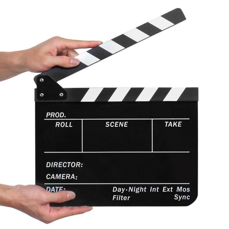 Hollywood Movie Film Director Clapboard Slate Cut Scene Acrylic Clapper Board #CECompass