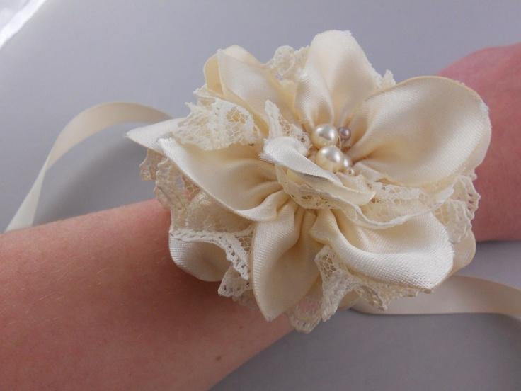 Rustic Flower Corsage -- Fabric Flower -- Alternative Wrist Corsage. $28.00, via Etsy.