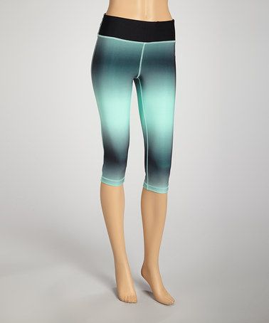 Take a look at this Black & Mint Capri Pants by VOGO on #zulily today!