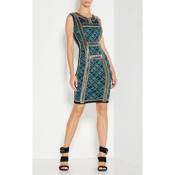 Herve Leger Tanya Safety Pin Detail Dress featuring polyvore women's fashion clothing dresses green green sleeveless dress safety pin dress green bandage dress green knee length dress round neck dress