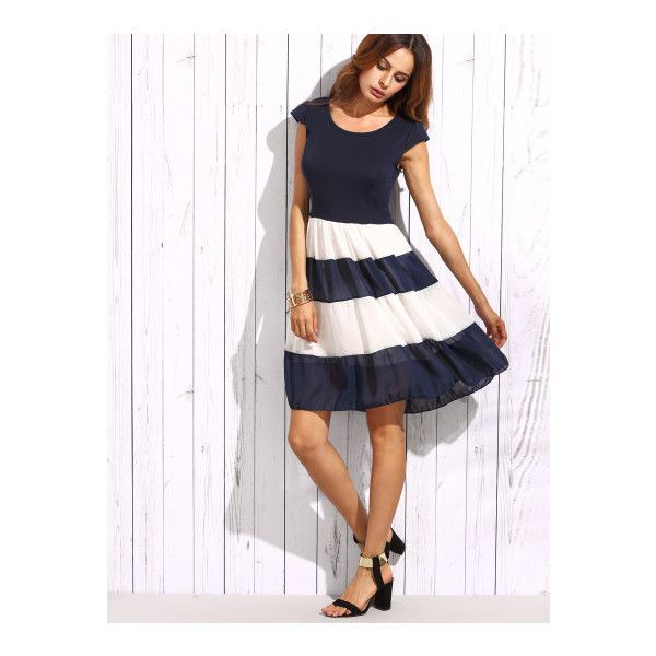 SheIn(sheinside) Navy Striped Cap Sleeve Flare Dress ($15) ❤ liked on Polyvore featuring dresses, navy, navy blue chiffon dress, striped dress, navy blue skater dress, short-sleeve skater dresses and short dresses