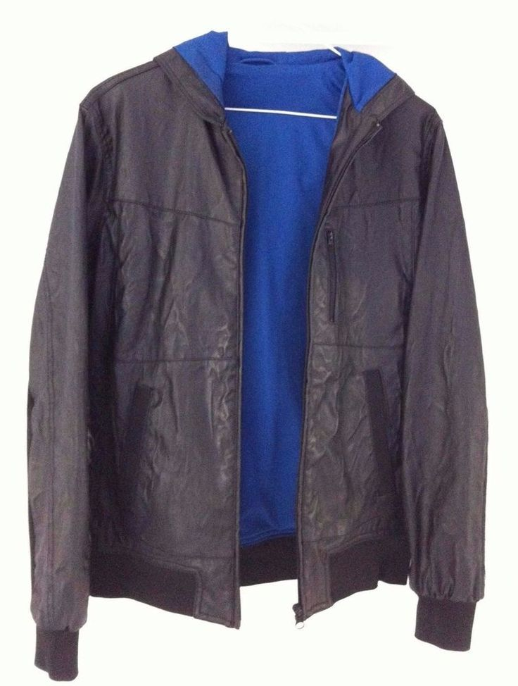 Zara Young For Men Faux Leather Hooded Bomber Jacket. UK Size SMALL. Black.