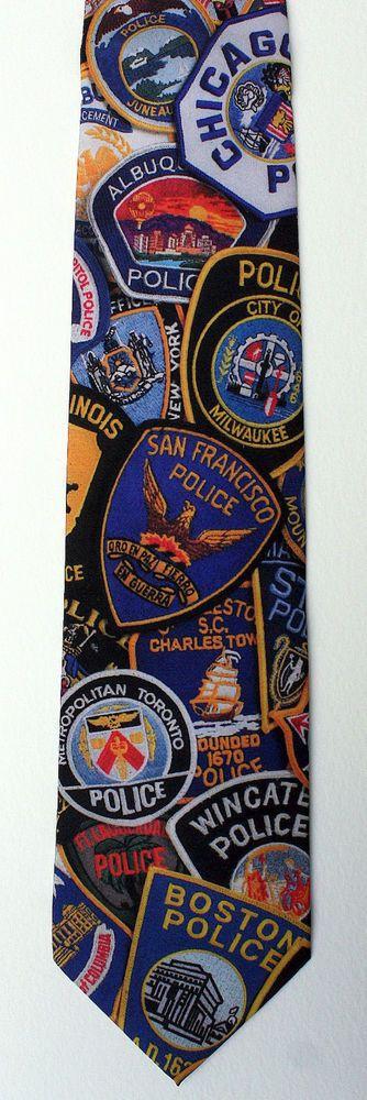 New Police Patches Mens Necktie Law Enforcement Cop Uniform Black Neck Tie #RalphMarlin #NeckTie