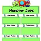 This 5 page file has a two-page jobs poster and 36 blank tags for students' names.  Attach student name tags to poster with velcro dots.See also,...