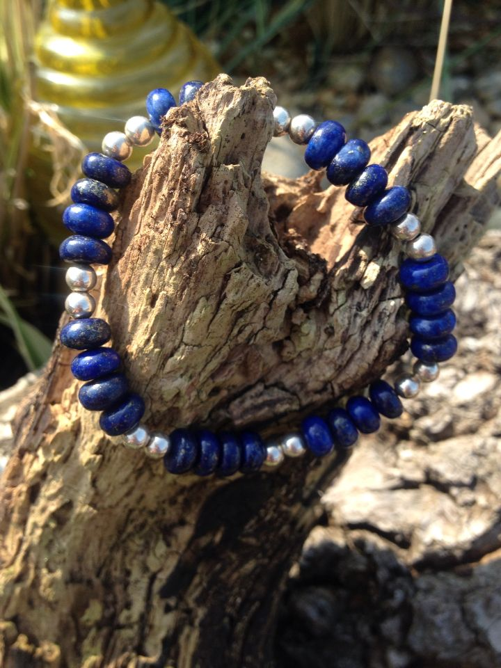 Summer essential. Beautiful lapis lazuli and silver bead bracelet. £20 #LoveByLou