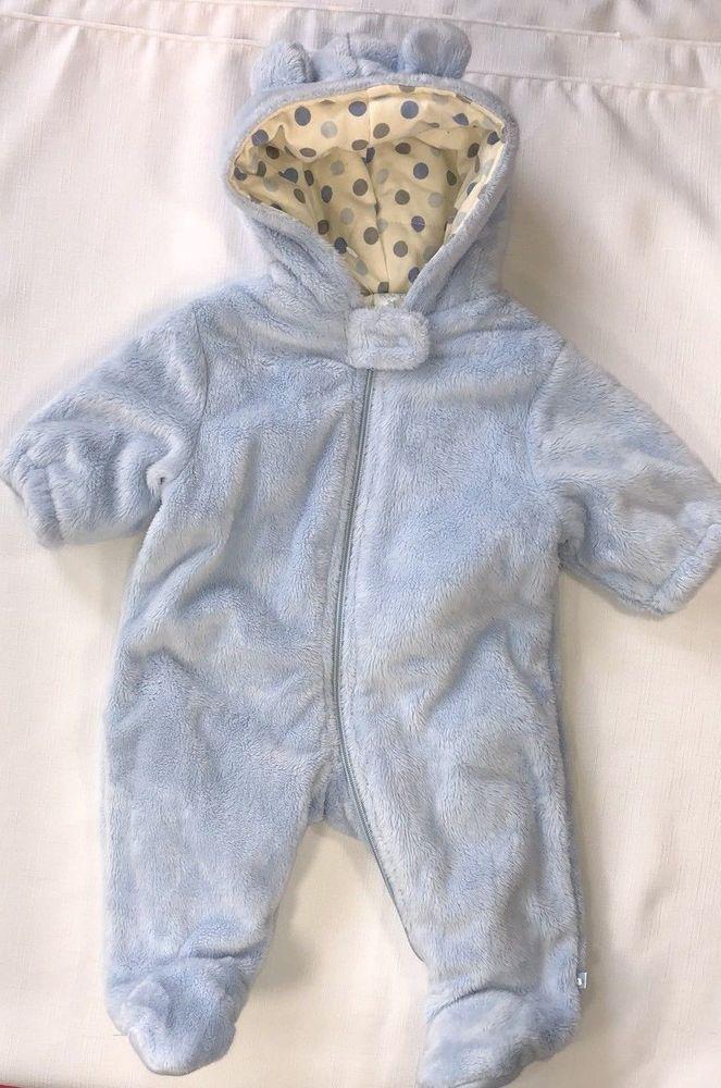 8ecb5dac8 Children s Place Boys 0-6 Months Blue Plush Hooded Snowsuit Bunting ...